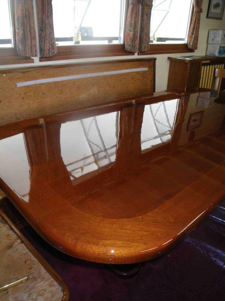 Columbia III salon table gets polished